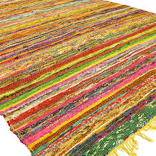 yellow colorful decorative woven chindi bohemian boho rag rug 3 5