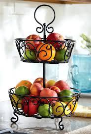 ... Basket Fruit Bowl 2 Tier Wrought Iron Fruit Basket Display Stand Home  Improvement Tiered Fruit Basket ...