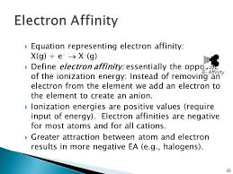 equation representing electron affinity x g e x