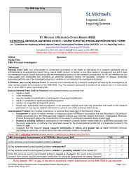 adverse event reporting form serious adverse event notification form