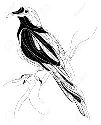 A Crow Sitting On A Branch Stylized Magpie On A Tree Black