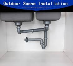 Talea Double Kitchen Sink Drainer Sink Drain Pipe Rear Position