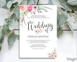 Wedding Invitation Template Floral Wedding Invitation