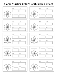 Copic Marker Color Combinations Printable Chart Template