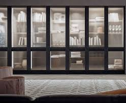 high bookcase contemporary wooden glass front treviso