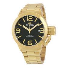 mens gold tone watch tw steel men s cb91 canteen 45 mm bracelet gold tone black dial quartz watch