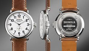 shinola detroit made watches q a nordstrom men s blog shinola the runwell leather strap watch 47mm in brown shown up top the runwell in black
