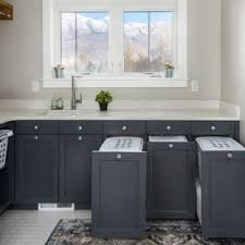 Relaxing undermount kitchen sink white ideas Farmhouse Sink Transitional Lshaped White Floor Dedicated Laundry Room Photo In Salt Lake City With An Houzz 75 Most Popular Laundry Room With Gray Cabinets Design Ideas For