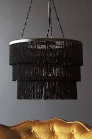 three tier fringe chandelier black
