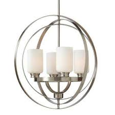 4 light brushed nickel chandelier with etched white glass shades