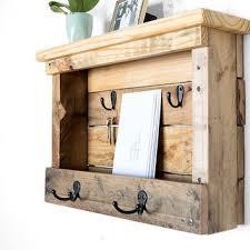 Coat Key Rack Fascinating Wood Mail Organizer Entryway Coat Hooks From ByDadandDaughter