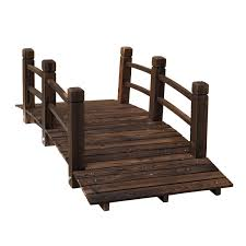 com outsunny 5 wooden rustic arched garden bridge with railings stained wood garden outdoor