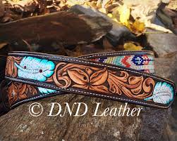 custom beaded belt with hand carved fl and painted feathers one of a kind non repeating custom design