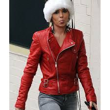 cheryl cole red leather biker jacket