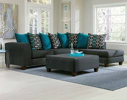 Two Piece Living Room Set Black Two Toned Couch Blue Pillows Watson Big 2 Pc Sectional