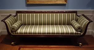 Sofa attributed to Duncan Phyfe shop New York 1810 1815 mahogany cherry pine gilt brass modern upholstery Cincinnati Art Museum DSC JPG