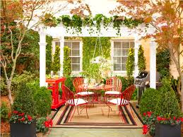 For Outdoor Decorations Outdoor Garden Decor Wooden Deck And Striped Toss Pillows Using