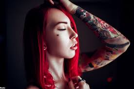 5072098 рыжие волосы тату лицо настроение женщина модель обои и