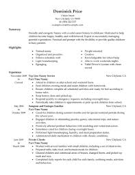 Resume Template Nanny Position Professional Templates Examples