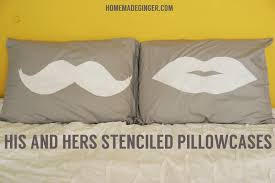 His and Hers Stenciled Pillowcases