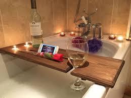 wooden bath board bridge caddy rack bathroom wine intended for wood decor 2