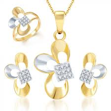 ara fine design gold and rhodium plated cz pendant set and ring combo