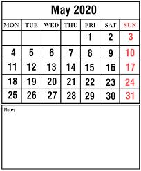 Calendar May 2020 Free May 2020 Printable Calendar Template With Holidays Pdf