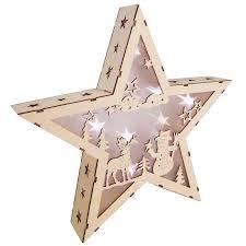 Led Stern Hologramm Effekt Aus Holz 35cm Leuchtstern Weihnachtsstern Holzstern