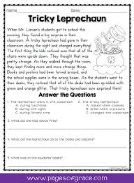 Reading Comprehension Passages and Questions for March | Fun ...