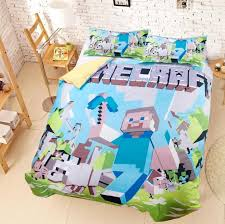 Blue Minecraft Duvet Cover Set Twin, Full and Queen Size Kid's ... & Blue Minecraft Duvet Cover & Pillowcases Kid's Bedding Sets Adamdwight.com