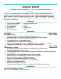 Nanny Resume Examples Are Made For Those Who Are Professional With ...