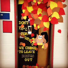 Fall door decoration! Red ribbon week! Don't fall for drugs! We