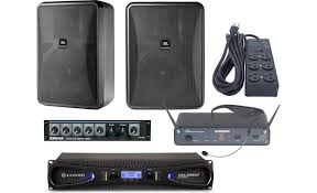 sound system. gym sound system with wireless microphone front