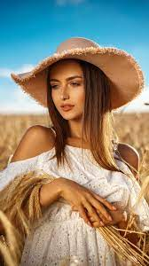 Beautiful, woman, straw hat, outdoor ...