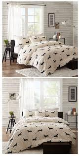 dachshund wiener dog print bedding full queen king comforter or duvet cover set sheets