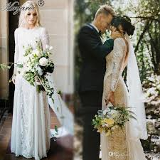 real picture lace bohemian wedding dresses vintage french lace