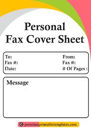 Personal Fax Cover Sheet Personal Fax Cover Sheet Templates