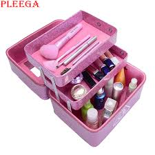 pleega new 2017 women professional makeup case patent leather 3ce make up box big cosmetic bags
