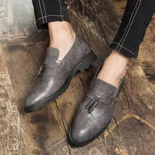 men loafers slip on carved oxford bullock shoes black genuine leather tassels designer casual driving shoes clogs for women shoe boots from tework