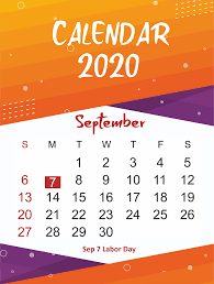 Free September 2020 Printable Calendar Template In Pdf Word