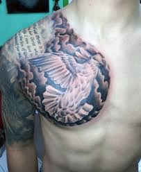 dove tattoos with quotes. Fine Dove Dove Chest Tattoos On Man With Quote In Quotes