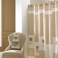 contemporary decoration bathroom with tropical pattern croscill shower curtain and tan color finish curtain