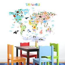Wandtattoo Jugendzimmer Innen Wandsticker Weltkarte Der Tiere