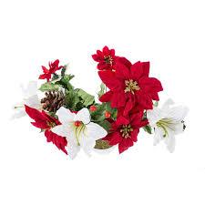 Blumenarrangement Mit Weihnachtssternen Rot Weiß 37cm Hoch