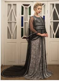 Grey And Black Color Kaftan Net Kaftan
