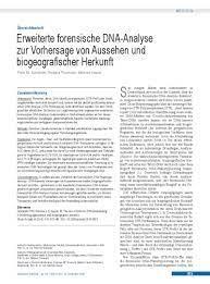 Erweiterte forensische DNA-Analyse zur Vorhersage von Aussehen und  biogeografischer Herkunft