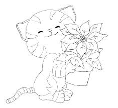 Christmas Cat Coloring Pages At Getdrawingscom Free For Personal