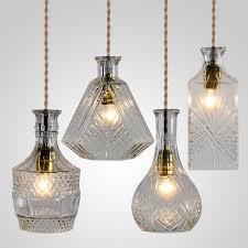 vintage glass bottle pendant light classic bottle pendant lamp art  decoration for dinning room decanter lamps