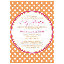 Polka Dot Invitations Bridal Shower Invitations Orange Polka Dot Pink