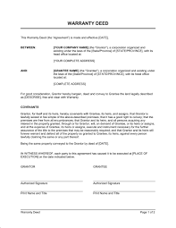 sample warranty deed form